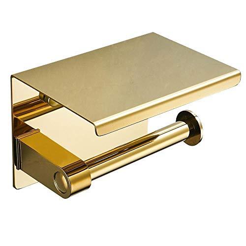 Alayth Toilettenpapierhalter Ohne Bohren Goldener Toilettenpapier-Handtuchhalter Aus Edelstahl, Regallänge 14.5cm