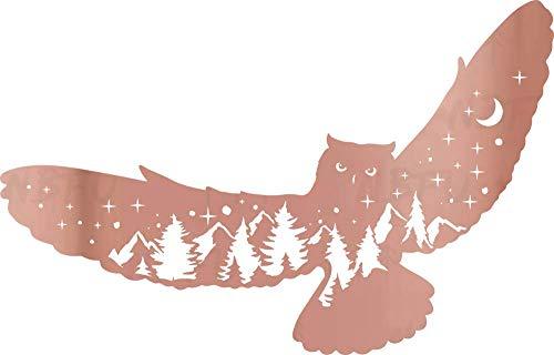 NBFU Decals Mountain Scene Owl Wildlife Pine Tree Star 2 (Rose Gold) (Set of 2) Premium Waterproof Vinyl Decal Stickers Laptop Phone Accessory Helmet Car Window Bumper Mug Tuber Cup Door Wall