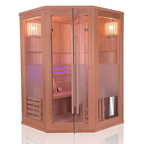 Sauna Traditionnel Vapeur 2 places angulaires - en Epicéa - Poêle Harvia 3.5 kW et accessoires inclus