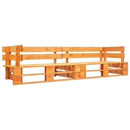 Tidyard Imprägniert Kiefernholz Garten Palettensofa 2-Sitzer Sofa Lounge Loungesofa Gartensofa Gartenmöbel Palettenmöbel Gartengarnitur Sessel Couch Honigbraun Holz