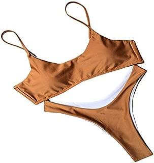 BEESCLOVER Women Swimsuit Summer Two-Piece Bathing Suits Push Up Bikini Solid Swimwear Women Beach Wear Coffee S