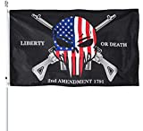 Homissor Liberty or Death 2nd Amendment Flag 3x5 Outdoor USA Punisher Skull Rifles 1789 Gun Flags Banner with Grommets