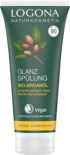 LOGONA Naturkosmetik Glanz Spülung Bio-Arganöl, Pflege für strapaziertes, stumpfes Haar, Schenkt natürlichen seidigen Glanz, Condiotiner mit wertvollen Ölen, Vegan, 200ml