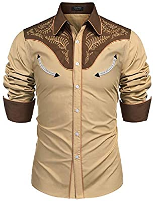 COOFANDY Mens Floral Embroidered Fashion Stylish Long Sleeve Christmas Shirts