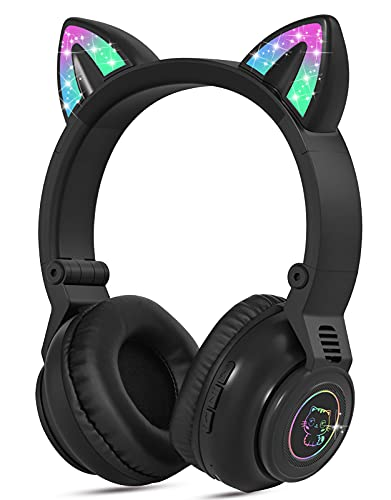 Kids Headphones Wireless Light Up Cat Ear Bluetooth Headphones Over Ear Childrens Foldable Headphones w/Microphone for Amazon Fire Tablet/Laptop/iPad (Black)