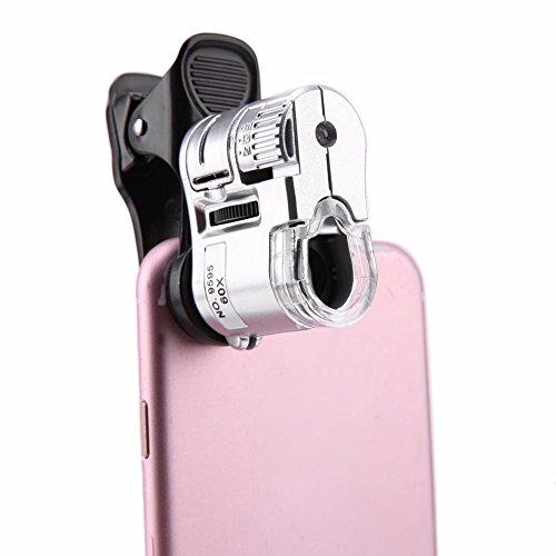 CARWORD Microscope de téléphone Portable Universel 60X Objectif Macro Zoom Micro Clip de la caméra avec lentille de lumière LED pour iPhone 7/8 Samsung Galaxy