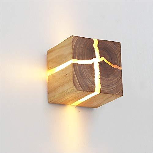 Lampe en Bois Creative Nordic Corps Mur Lampe LED G4 Lampe de Chevet éclairage intérieur Place Sconce Salon Décoration AC85-265V (Color Temperature : White Light, Lampshade Color : C)