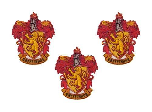 HKM Textil Bügelbild, Aufnäher, Aufbügelmotiv Gryffindor 3 Stück, rot, gelb, gold, 650-102161