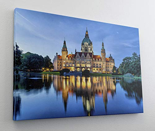 Hannover City Schloss Leinwand Canvas Bild Wandbild Kunstdruck L1473 Größe 100 cm x 70 cm