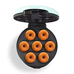 Dash DDM007GBAQ04 Mini Donut Maker Machine for Kid-Friendly Breakfast, Snacks, Desserts & More with Non-stick Surface, Makes 7 Doughnuts, Aqua