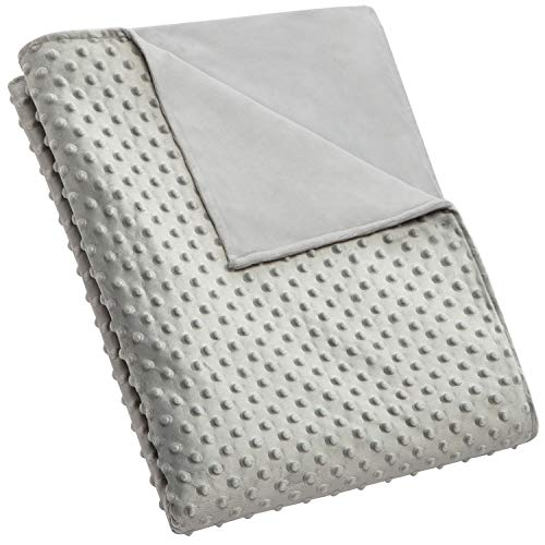 """5 STARS UNITED Weighted Blanket Cover – 41""""x60"""", Grey, Minky Dot 