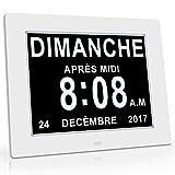 OLDTIME 8' LCD Horloge Numérique Calendrier Avec Date, Jour Et Heure | Horloge Alzheimer | C'est Le Meilleur Cadeau Pour Les Parents, Grands-parents Et Enfants-WHITE