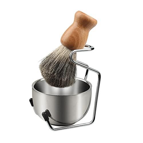AJMINI Kit for pennelli da Barba da Uomo, Spazzola for Capelli con Manico in Legno massello, Ciotola da Barba e Kit da Barba in Acciaio Inox, Perfetto for Uomo Regalo (Color : A)