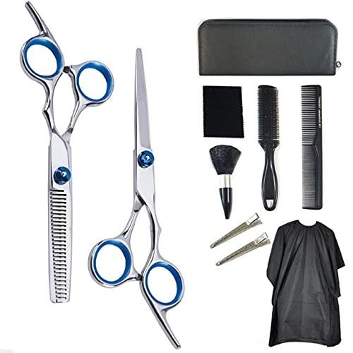 10pcs Conjunto del corte del pelo clips Tijeras de peluquería profesional determinado peluquero adelgazamiento del cabello tijeras barbería Kit de salón Peine del Cabo Para el hogar