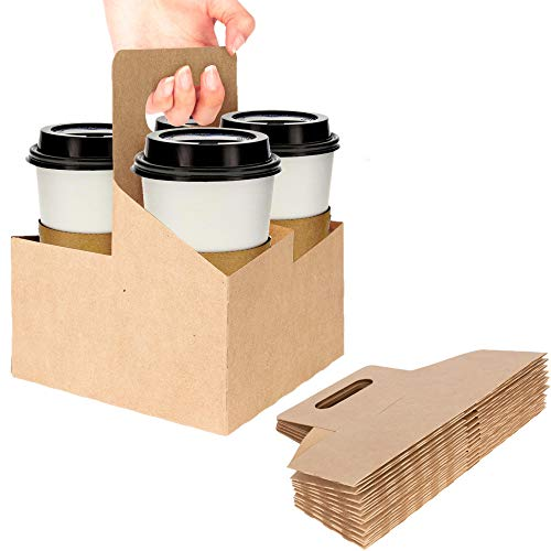 4 Cup Disposable Drink Carrier with Handle (15 Count) - Kraft Paperboard Cup Holder - Disposable Cup...