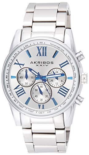 Akribos Multifunction Stainless Steel Chronograph Watch - 3 Sub-Dials Complications Quartz - Men's Heavy Bracelet Watch - AK865