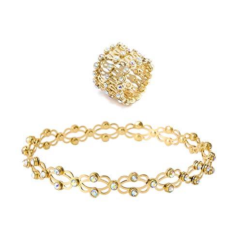6Wcveuebuc 2 en 1 Magic retráctil anillo pulsera creativa estirable giro plegable anillo de cristal telescópico anillos pulsera joyería