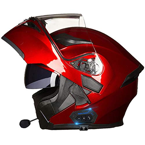 Casco de Moto Modular Bluetooth Integrado Cascos Masculinos y Femeninos con Función de Respuesta Automática con Gafas de Protección Solar Dual Certificación DOT C,XL=61~62cm