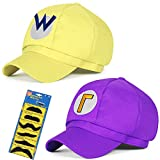 TISOSO Funny Cosplay Hat Wario Waluigi Baseball Cap Halloween Costume for Medium Children Costume 2Pcs 21.25-22.04 inch (Yellow,Purple)