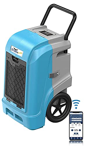 ALORAIR Smart WiFi Storm Ultra Industrial Commercial Dehumidifier with Hose, 90 PPD AHAM, Compact, Portable, Auto Shut Off, for Homes and Job Sites, Blue