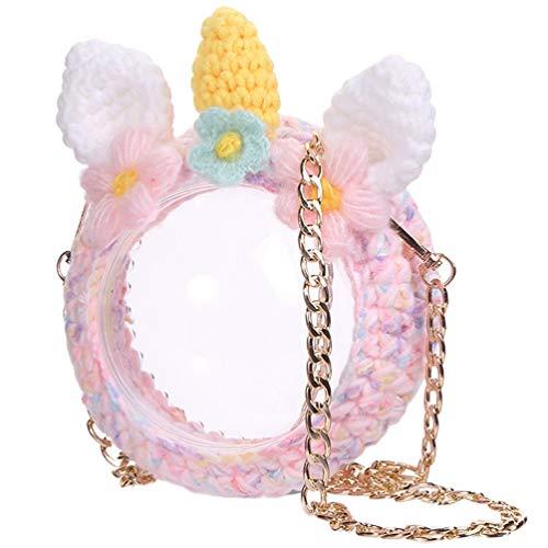 KESYOO Einhorn Transparente Gewebte Tasche Umhängetasche Häkeln Schultertasche Klare Handy-Handtasche für Frauen Mädchen