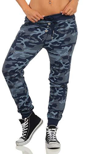 Malito Damen Sweathose im Camouflage Look   Baggy zum Tanzen   Jogginghose mit Knopfleiste   Sweatpants - Trainingshose 6098 (dunkelblau)
