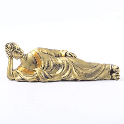VOSAREA Schlafende Buddha-Statue Liegend Position Buddha Harz Buddha Tabelle Kunst Handwerk Chinesischen Stil Buddhistische Geschenk Figur für Home Office Wohnzimmer Regal Display