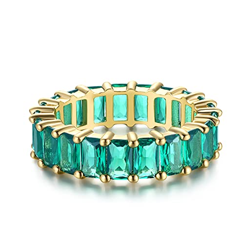 Nossa Green Emerald Band (5 Carat) 18K Gold Plated Claw Prong | Rectangle Emerald Cut Eternity Band CZ Ring Size 7