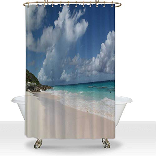 ALUONI White Shower Curtainsd Beach on Bermuda Islands Polyester Fabric Shower Curtain Shower Accessories,for Hotel,66''W x 72''H