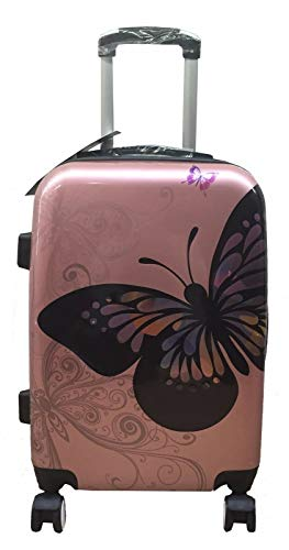 Hard Shell 4 Wheel Spinner Suitcase PC Luggage Trolley Case Cabin (Color : Rose Gold, Size : 20+#034;)