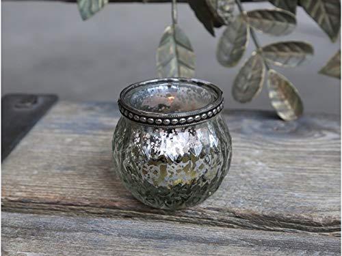 Chic Antieke Franse theelichthouder Kandelaar met parelrand Kandelaar Windlicht Denemarken antiek zilver H 5,5 x Ø 6,5 cm
