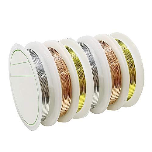 6 Rotoli 1 mm * 1,5 Metri Filo di Gioielli di Rame per Braccialetti Collana Fili di Perline di Rame per Mestiere Fai da Te Creazione di Gioielli (Oro/Oro Rosa/Argento)