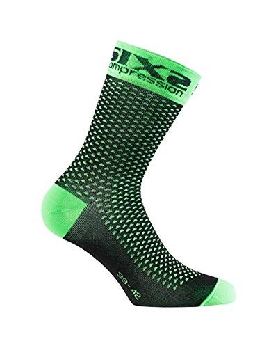 SIXS Socken Comp Sho, Neongrün, Größe 39/42