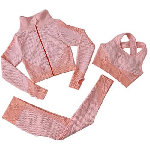 OMMO LEBEINDR 3Pcs Seamless Frauen Yoga-Anzug Langarm Mantel Weste Leggings Fitnessanzug Gym Sportbekleidung Set (Rosa, S) ?OPP?
