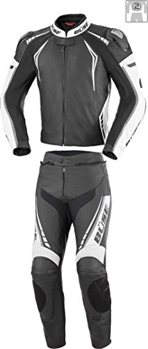 Büse Silverstone Pro 2-Teiler Damen Motorrad Lederkombi Schwarz/Weiß 38