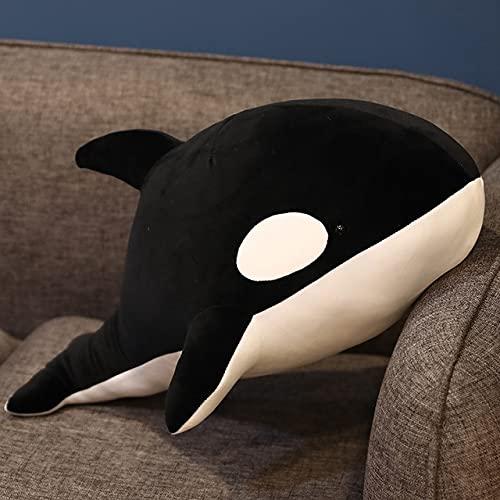 AYQX 60-80cm Nuevos Juguetes de Peluche de tiburón Negro y Rojo Big Killer Whale Doll Orcinus Orca Stuffed Sea Animals Regalo de cumpleaños para niños Niza 60cm Negro
