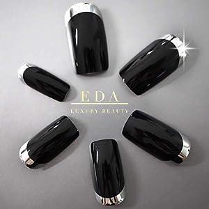 EDA LUXURY BEAUTY BLACK DARK SILVER FRENCH GLAMOROUS DESIGN Full Cover Press On Gel Glitter Artificial Nail Tips Shiny… 5