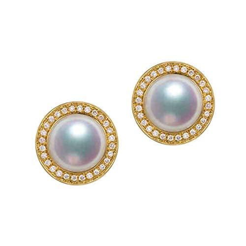 KnSam 18K Oro Amarillo Pendiente, Arete Redondo con Perla Diamante Blanco, Perla Blanco, Color Oro