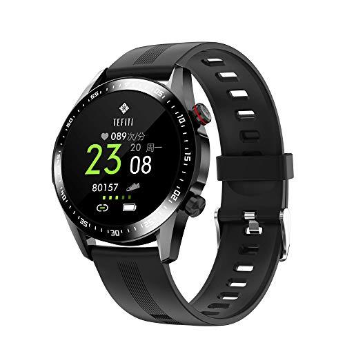 KUCE Reloj inteligente para hombre, rastreador de fitness de 1,28 pulgadas, pantalla táctil completa, Bluetooth, impermeable, GPS, reloj deportivo, pulsómetro, podómetro, monitor de sueño, cronómetro