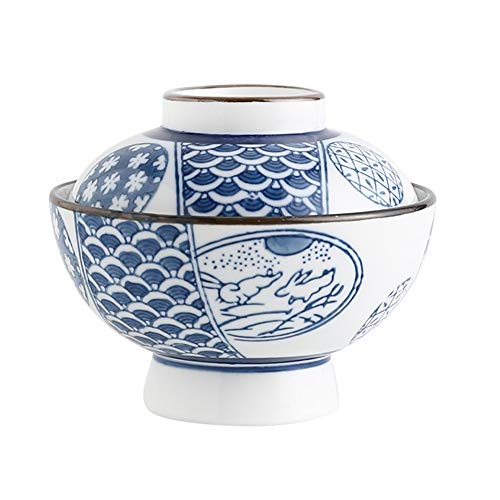 Miso - Cuenco para sopa, estilo japonés con tapa, cuencos de sopa de cebolla francesa, taza de huevo al vapor, pequeña olla de cerámica para cocina en el hogar, 300 ml