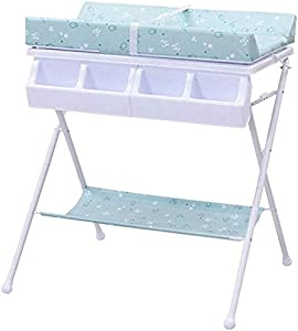 CWJ Small Bed for Look After Baby Without Bending Over  Baby Changing Table for Diaper  Folding Dresser Station Unit Storage Portable Organizer  Optional Save Space Storage Desk Blue