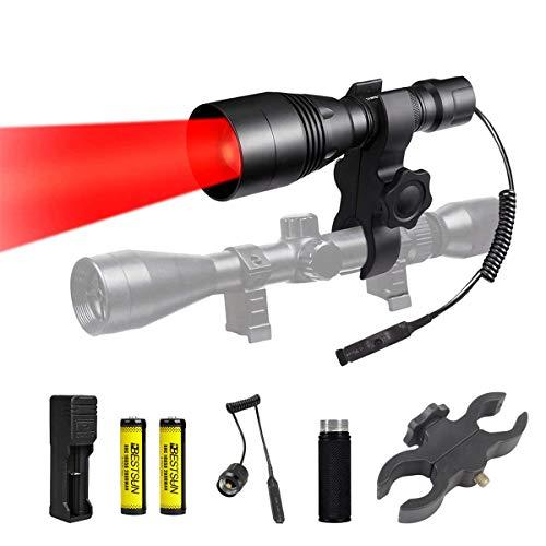Luz Roja Caza Linterna, Linterna Táctica con Interruptor de Presión y Montura de Alcance, Linterna LED Roja para Astronomía, Observación Nocturna, Pesca y Fotografía (Baterias Incluidas)