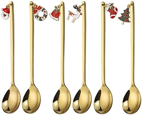 Omaha Mall Christmas Stainless Steel Spoon Gold-Plated Set Deluxe Coffee Creative