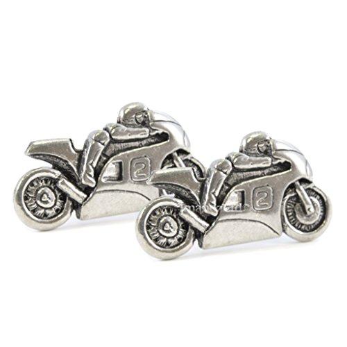 1StopShops Manschettenknöpfe aus englischem Zinn, Sportmotorrad, in Geschenkbox