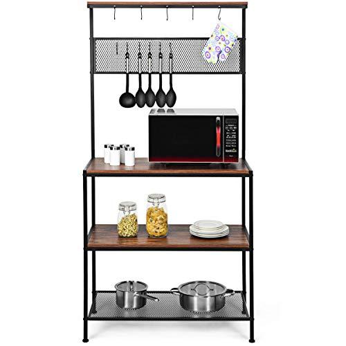 COSTWAY Küchenregal Standregal 3 Ebenen mit 11 Haken und Gitter, Bäckerregal Mikrowellenregal Holz Metall für Küche, Wohnzimmer und Arbeitszimmer 84x39x171cm