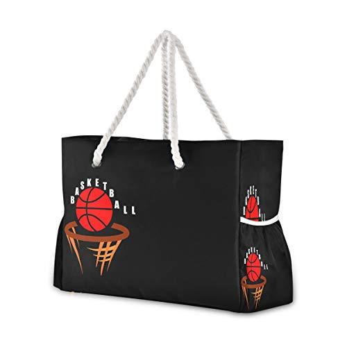 Mnsruu Strandtasche XXL Basketball Schulter Strand Tote Baumwolle Seil Griffe Reise Tote Tasche für Frauen