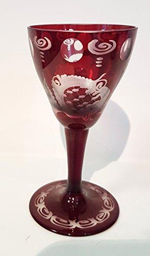 Egermann Likörglas, Sherry Glas Böhmisches Glas rubin rot Antik Glas Sammler Glas gebraucht Zustand wie neu Höhe ca. 10,5 cm