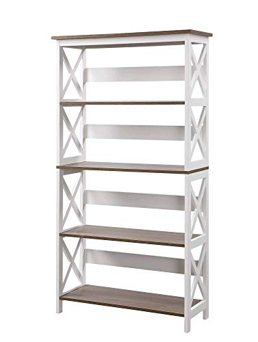 Convenience Concepts Oxford 5 Tier Bookcase, Driftwood / White
