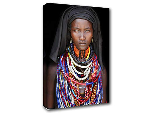Native American Decor African American Paintings Men Pictures Black and White Wall Art 1 Pcs/Multi Panel Modern Artwork Home Decor for Living Room Framed Ready to Hang Posters and Prints(16''X24'')