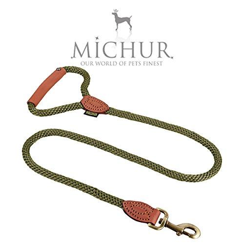 Michur Sherpa Hundeleine Green Hornet Führleine rund gewebt aus Nylon Tau mit robustem Leder in verschiedenen Größen erhältlich